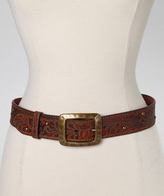 Tan & Gold Studded Leather Belt by I Love Accessories #zulily #zulilyfinds
