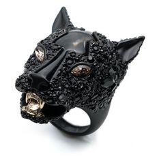 Alexis Bittar Crystal Encrusted Panther Ring found on Polyvore featuring jewelry, rings, black, yellow gold jewelry, gold ring, handcrafted gold jewelry, gold jewellery and alexis bittar