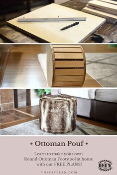 There are many different kinds of footstools and ottomans that people make. Some call it a pouf or a hassock depending if it has legs or storage. The ottoman pouf we made is very simple without storage nor legs. The top has a very soft cushion and a strong frame to support the weight of a person if someone sits or stands on it.  #diy #freeplans #projects #homedecor #interior #furniture #woodproject #footstool #doityourself  #homeimprovement