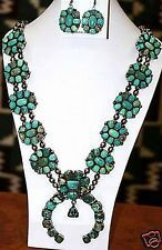 Native Navajo Sterling Silver CARICO LAKE TURQUOISE SQUASH BLOSSOM Necklace Set