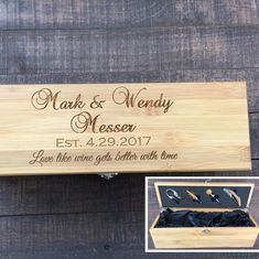 Wedding wine box, engraved wine box with tools, wine opener, bottle stopper and more!