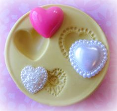 Valentine Cabochon Heart Mold Flower Silicone Flexible Clay Resin Mould