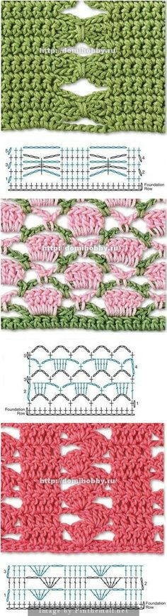Beautiful Crochet Stitches - many more on this site - all with charts. Click on picture to check them out.: