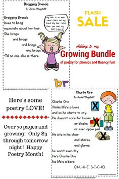 High quality, hilariously engaging poetry for phonics and fluency practice!  On sale through Thurs. night (4/20).  All new poems including these will be added then.  Grab yours now!  The fun will just keep coming your way as poems are added! https://www.teacherspayteachers.com/Product/Poetry-for-Phonics-Fluency-Fun-Gr-K-2-Growing-Bundle-Vowels-Cons-Digraphs-2007904