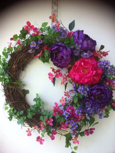 Silk flower, English Ivy, grapevine wreath