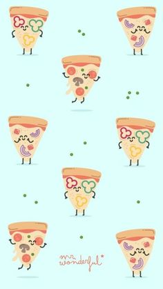 The Wonderful pizza Food Wallpaper, Kawaii Wallpaper, Pastel Wallpaper, Screen Wallpaper, Cartoon Wallpaper, Cute Wallpaper Backgrounds, Wallpaper Iphone Cute, Cute Wallpapers, Mr Wonderful