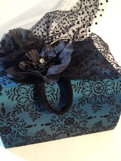 teal fabric photo album with a black vintage by fresheyedesign on etsy, $28.00