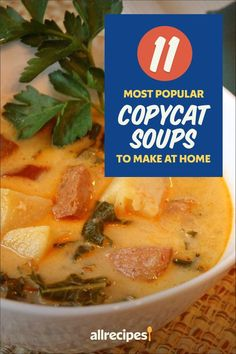 "11 Most Popular Copycat Soups to Make at Home | ""Imitation may be the sincerest form of flattery, but it can also save you a ton on going out to eat. Here are some of the most frequently copied soup recipes served by popular restaurants across the land."" #copycat #copycatrecipes Copycat Soup Recipe, Copycat Recipes, Soup Recipes, Chicken Gnocchi Soup, Lemon Chicken Orzo Soup, Chili's Chicken Enchilada Soup, Artichoke Soup, Olive Garden Recipes, Hot And Sour Soup"