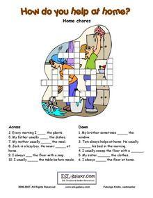 Chores English Vocabulary Printable Vocabulary Exercises