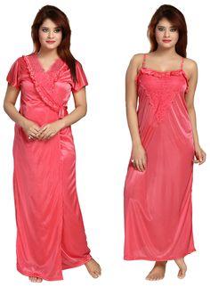 Be You Fashion Women Satin Peach Lace 2 piece Nighty Set