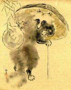 Tanuki - Yokai Art | This 19th Century Japanese Poem Card depicts a walking Tanuki with a sunshade over his shoulder and carrying a sake bottle.