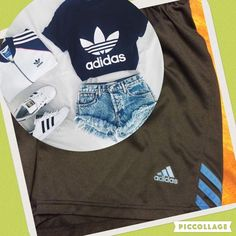 """Adidas Shorts Navy blue to almost black shorts with bright blue adidas stripes. 15"""" across waist. 3"""" inseam with pantie lining. No holes, stains or picks. Please note the measurements..... Adidas Shorts"""