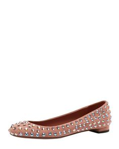 Crystal-Stud Suede Ballerina Flat, Desert Rose by Gucci at Bergdorf Goodman.