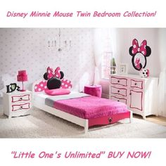 Disney Minnie Mouse Twin Bedroom Collection - White/Pink #DeltaChildren