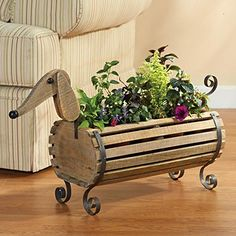 SIGNALS Exclusive Wooden Dachshund Flower Planter - Indoor/Outdoor Dog Barrel Container Holds Plants, Decor and Household Goods Outdoor Planters, Flower Planters, Flower Pots, Garden Planters, Dachshund Gifts, Dachshund Dog, Daschund, Dog Lover Gifts, Dog Gifts