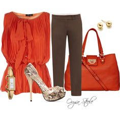"""Working Lunch"" by orysa on Polyvore -- This color makes me weak!!  My new favorite color! Awesome bag!!"