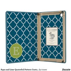 Aqua and Lime Quatrefoil Pattern Custom Monogram iPad Mini Retina Cases