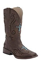 ?Lori/Melissa  Roper Women's Brown with Turquoise Crystal Cross Underlay Square Toe Western Boot