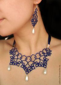 Tatted necklace and the earring set.
