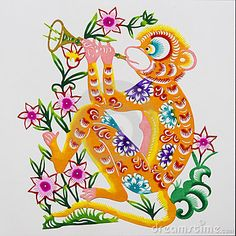 Monkey, color paper cutting. Chinese Zodiac.