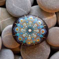 Mandala Stone  Hand Painted   Gold & Blue