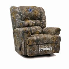 dallas cowboys big daddy realtree camo recliner