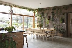 My Dream Home. Modern Plant Filled Handmade Furniture Australia Home Tour Living Room Lounge, Dining Room Walls, Berlin Apartment, Apartment Therapy, Concrete Bench, Plant Covers, Australian Homes, Exposed Brick, Modern Country