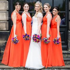 Discover the most elegant bridesmaid dresses in an amazing range of styles, colors and sizes. Junior bridesmaids, flower girl dresses, and men's formal wear to match. Find the perfect wedding accessories for your bridal party! Bright Bridesmaid Dresses, Brides And Bridesmaids, Orange Wedding Colors, Colorful Weddings, Team Bride, Squad Goals, Wedding Party Dresses, Beaded Flowers, Blossoms
