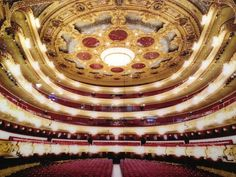 Gran Teatre del Liceu in Barcelona, Cataluña is one of Barcelona's most popular man made attraction. One of the most prestigious venues in the world and a huge success with the public. A restrained façade opens into an elegant 2,292-seat auditorium of red plush, gold leaf and ornate carvings.