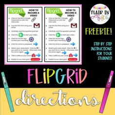 Flipgrid Directions - Freebie by Flair in Fifth Teaching Technology, Educational Technology, Instructional Technology, Learning Resources, Teacher Resources, Teaching Ideas, Teacher Freebies, Teaching Activities, Learning Tools