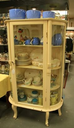 Shabby Painted Curved Glass Cabinet (SOLD)