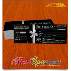 Gift Certificate template for Nail Salon. Visit www.NailSpaDesigns.com/catalog for more templates #NailSpaDesigns