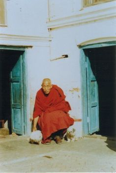 Lama Gen Yeshe with two dogs