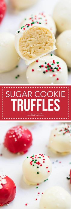 No-bake sugar cookie truffles made with only 4 ingredients! An easy and delicious treat for the holidays. I don't know about you, but this time of year I love making sugar cookies, truffles, fudge and just Köstliche Desserts, Holiday Desserts, Holiday Baking, Christmas Baking, Holiday Treats, Holiday Recipes, Delicious Desserts, Dessert Recipes, Christmas Recipes