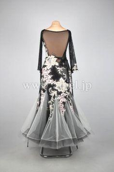 社交ダンスドレスのドレスネットアニエル / M3963・【EM】黒&オフホワイト【Night Luxury】・20万円