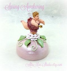 Pink Fairy Candy Jar OOAK Mixed Media Assemblage by AltaMacStudio