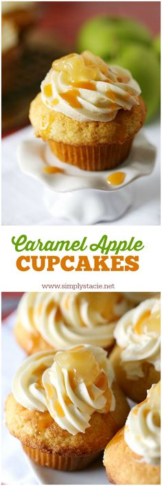 Caramel Apple Cupcakes - Every bite is sweeter than the next! This cupcake recipe will soon become a favourite treat. Best Dessert Recipes, Cupcake Recipes, Delicious Desserts, Cupcake Flavors, Cupcake Ideas, Caramel Apple Cupcakes, Caramel Apples, Apple Caramel, Caramel Recipes