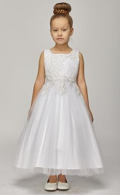 Linda - Pearl Beaded 1st Holy Communion Dress CC5009 1st Communion Dress White Satin & Tulle with a wired coiled hem Hand beaded pearls across the bodice White Lace Applique Fat satin sash in the back for a perfect waist line fit. Fully Lined