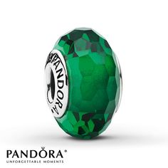Pandora Green Glass Charm Faceted Sterling Silver