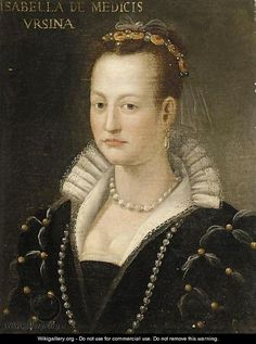 Isabella Romola de' Medici, Principessa Orsini (1542-1576) ~ was the daughter of Cosimo I de' Medici, first Grand Duke of Tuscany, and Eleonora di Toledo. To secure a relationship with the powerful Roman Orsinis, Isabella's father arranged her marriage to Paolo Giordano I Orsini when she was 16.  Following the death of her father, Isabella was probably murdered, with the complicity of her husband and brother, and in retribution for her relationship with Paolo Giordano's cousin Troilo Orsini.