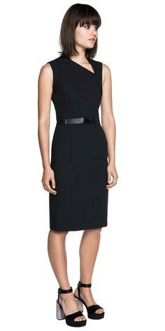 e83d56615bf07 Dresses | Asymmetric Neckline Fitted Black Dress Casual Dresses, Dresses  For Work, Fitted Black