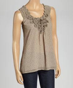 Look at this #zulilyfind! Taupe Ruffle Tank by Papillon Imports #zulilyfinds