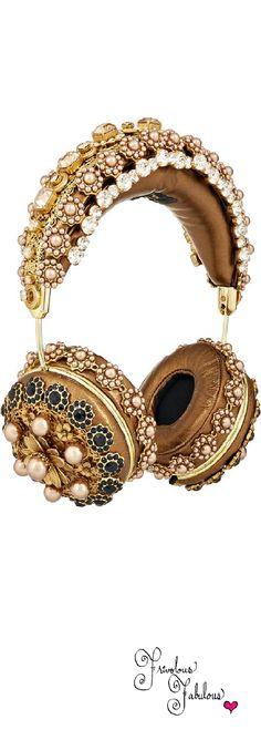 Frivolous Fabulous - Dolce & Gabbana Frends Jewel Embellished Metallic Leather Headphones