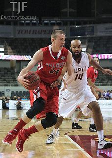 Nov 22, 2014 | Indianapolis, IN: BSU's Sean Sellers (#34) driving early, leads all scorers with 22 points.