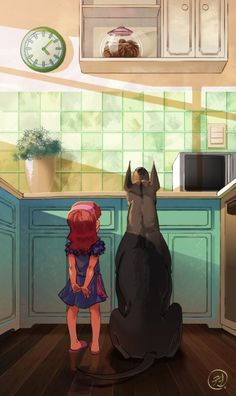 Doberman, little girl