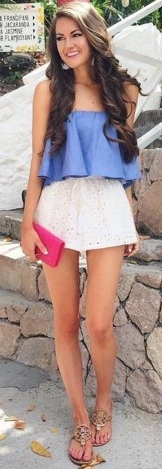 #summer #preppy #outfits | Chambray Ruffle Crop + White Eyelet Shorts