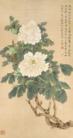 Peony Drawing, Peony Painting, Ink Painting, Chinese Painting Flowers, Chinese Flowers, Chinese Prints, Chinese Art, Botanical Illustration, Illustration Art
