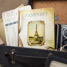 Vintage Passport Wedding Invitation Paris Europe  by beyonddesign, $50.00