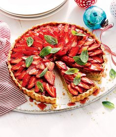 Make the most of fresh strawberries with this Strawberry & Pistachio Tart. #ColesMag #Dessert