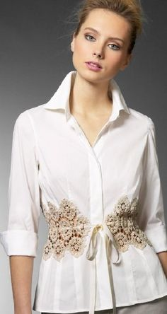 Hmm... a man's shirt, some doilies, vintage napkins or a piece of a beautiful table runner or tablecloth?? ....